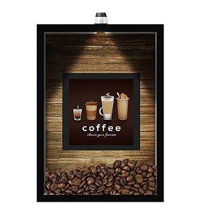 QUADRO DUPLO CAIXA 33X43  (COM LED )PORTA GRÃOS DE CAFE Nerderia e Lojaria  graos cafe choose preto