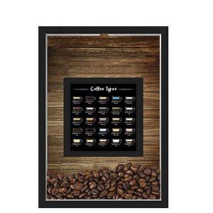 QUADRO DUPLO CAIXA 33X43  PORTA GRÃOS DE CAFE Nerderia e Lojaria graos tipo cafe preto