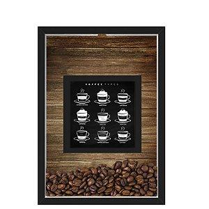 QUADRO DUPLO CAIXA 33X43  PORTA GRÃOS DE CAFE Nerderia e Lojaria graos cafe types preto