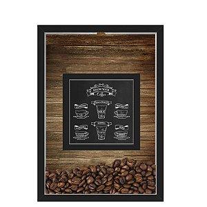 QUADRO DUPLO CAIXA 33X43  PORTA GRÃOS DE CAFE Nerderia e Lojaria graos cafe know your preto