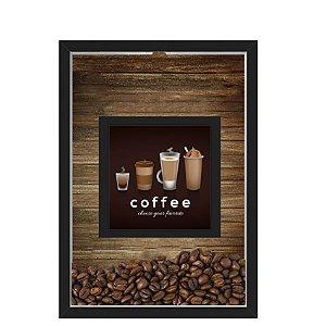 QUADRO DUPLO CAIXA 33X43  PORTA GRÃOS DE CAFE Nerderia e Lojaria graos cafe choose preto