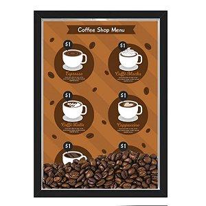 QUADRO CAIXA 33X43  PORTA GRÃOS DE CAFE Nerderia e Lojaria graos cafe shop menu preto
