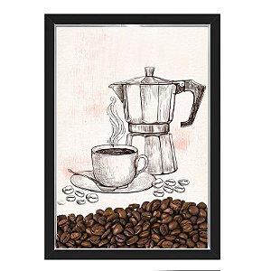 QUADRO CAIXA 33X43  PORTA GRÃOS DE CAFE Nerderia e Lojaria graos cafe maquina preto