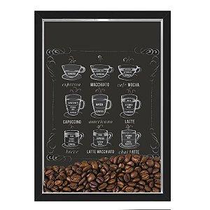 QUADRO CAIXA 33X43  PORTA GRÃOS DE CAFE Nerderia e Lojaria graos cafe lousa preto
