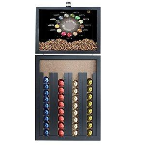 Quadro Caixa Porta Capsulas de Café Nespresso 33x70cm (Com Led) Nerderia e Lojaria tipos de cafe preto