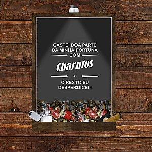 Quadro Caixa 33x43 Porta Charutos (Com Led) Nerderia e Lojaria fortuna madeira