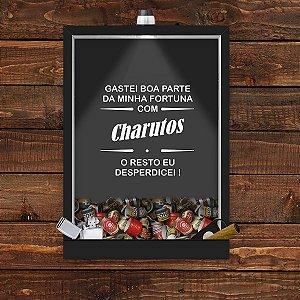 Quadro Caixa 33x43 cm Porta Charutos (Com Led) Nerderia e Lojaria fortuna preto