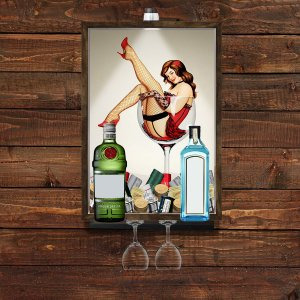 QUADRO CAIXA33x43 cm PORTA TAMPINHA GIN com iluminação LED e  SUPORTE PARA TAÇAS E GARRAFAS Nerderia e Lojaria  gin pin