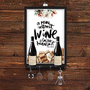 QUADRO CAIXA 33x43 cm  VINHO  PORTA ROLHA  COM SUPORTE PARA TAÇAS, GARRAFAS e pendurador Nerderia e Lojaria wine breakfa