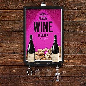 QUADRO CAIXA 33x43 cm  VINHO  PORTA ROLHA  COM SUPORTE PARA TAÇAS, GARRAFAS e pendurador Nerderia e Lojaria wine clock p