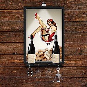 QUADRO CAIXA 33x43 cm  VINHO  PORTA ROLHA  COM SUPORTE PARA TAÇAS, GARRAFAS e pendurador Nerderia e Lojaria wine pin up
