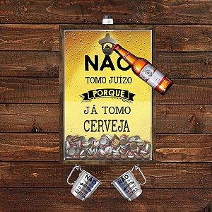 QUADRO CAIXA 33x43 cm COM ABRIDOR DE GARRAFAS E PORTA TAMPINHA CERVEJA C/ pendurador para as  2 canecas (COM LED) Nerder