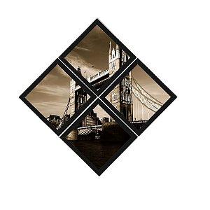 Kit Quadros (4 Unidades) 23x23cm Nerderia e Lojaria Bridge London preto