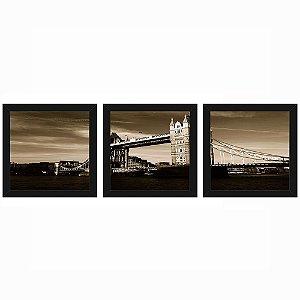 Quadro 23x23 (3 und.) Nerderia Lojaria Bridge San Francisco preto