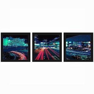 Quadro 23x23 (3 und.) Nerderia Lojaria Cidade Neon 02 preto
