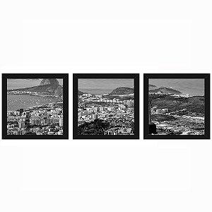 Quadro 23x23 (3 und.) Nerderia Lojaria Rio de Janeiro preto