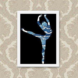 Quadro Decorativo 23x33cm Nerderia e Lojaria ballet ondas preto