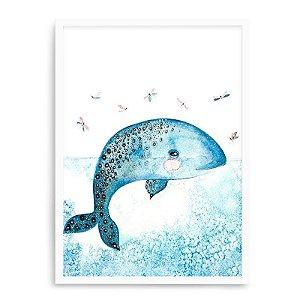 Quadro Decorativo 23x33cm Nerderia e Lojaria branco baleia aquarela branco