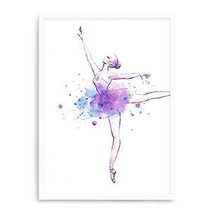 Quadro Decorativo 23x33cm Nerderia e Lojaria branco balet aquarela branco