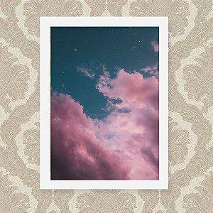 Quadro Decorativo 23x33cm Nerderia e Lojaria ceu rosa preto