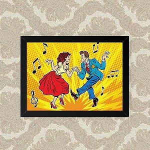 Quadro Decorativo 23x33cm Nerderia e Lojaria dancing retro preto