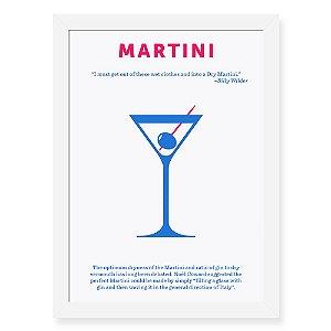 Quadro Decorativo 23x33cm Nerderia e Lojaria drinks martini preto