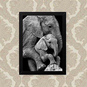 Quadro Decorativo 23x33cm Nerderia e Lojaria elefante familia preto
