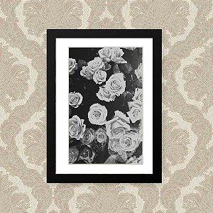 Quadro Decorativo 23x33cm Nerderia e Lojaria flor branca preto