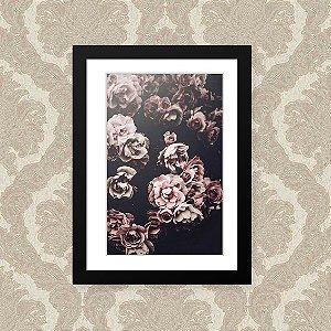 Quadro Decorativo 23x33cm Nerderia e Lojaria floral preto