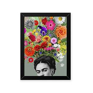 Quadro Decorativo 23x33cm Nerderia e Lojaria frida florida preto