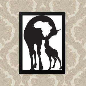 Quadro Decorativo 23x33cm Nerderia e Lojaria girafa mom preto