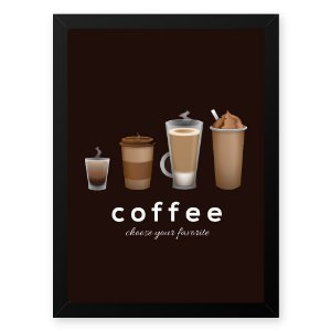 Quadro Decorativo 23x33cm Nerderia e Lojaria graos cafe choose preto