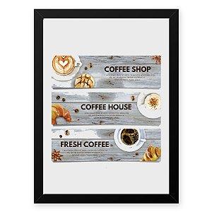 Quadro Decorativo 23x33cm Nerderia e Lojaria graos cafe fresh preto