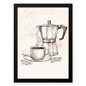 Quadro Decorativo 23x33cm Nerderia e Lojaria graos cafe maquina preto