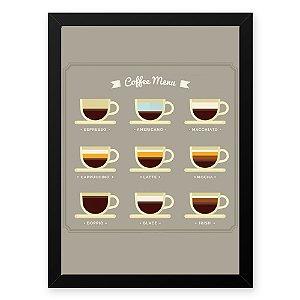 Quadro Decorativo 23x33cm Nerderia e Lojaria graos cafe menu preto