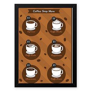Quadro Decorativo 23x33cm Nerderia e Lojaria graos cafe shop menu preto