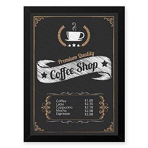 Quadro Decorativo 23x33cm Nerderia e Lojaria graos cafe shop preto