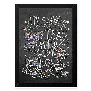Quadro Decorativo 23x33cm Nerderia e Lojaria lousa tea time branco