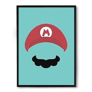 Quadro Decorativo 23x33cm Nerderia e Lojaria mario bigode minimalista preto