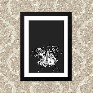 Quadro Decorativo 23x33cm Nerderia e Lojaria mulher espaço preto