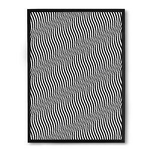 Quadro Decorativo 23x33cm Nerderia e Lojaria ondas 3d preto