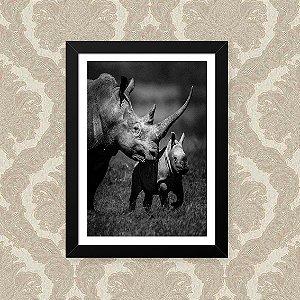 Quadro Decorativo 23x33cm Nerderia e Lojaria rhino family preto