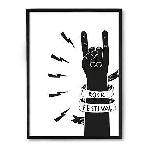 Quadro Decorativo 23x33cm Nerderia e Lojaria rock festival preto
