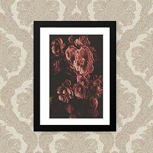 Quadro Decorativo 23x33cm Nerderia e Lojaria rosas preto