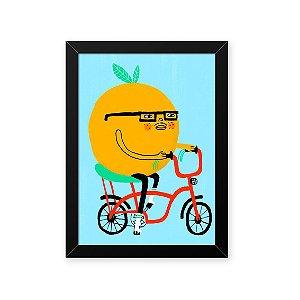 Quadro Decorativo 23x33cm Nerderia e Lojaria tangerina na bike preto