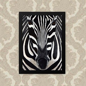 Quadro Decorativo 23x33cm Nerderia e Lojaria zebra foco preto