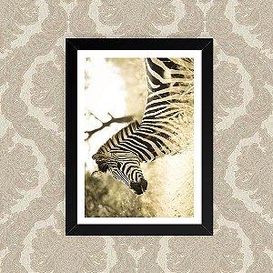 Quadro Decorativo 23x33cm Nerderia e Lojaria zebra sépia preto