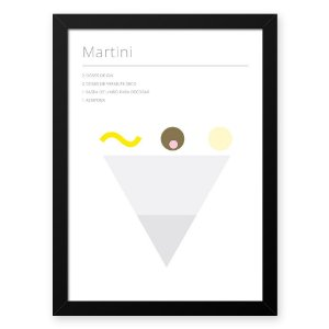 Quadro Decorativo 33x43cm Nerderia e Lojaria drinks martini preto