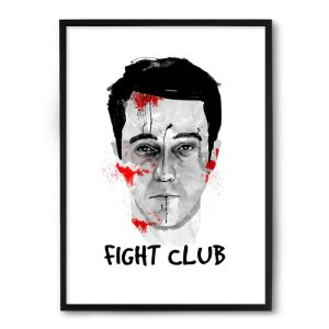 Quadro Decorativo 33x43cm Nerderia e Lojaria fight club norton preto