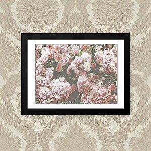 Quadro Decorativo 33x43cm Nerderia e Lojaria floral preto